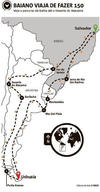 Motociclista baiano viaja de Salvador ao Ushuaia, passando pelo Deserto do Atacama e Bariloche - Foto: Arte Ila Garcia | Ag. A TARDE