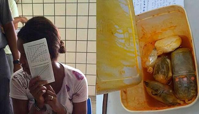 Foram encontrados dentro da marmita um celular, três carregadores e uma bateria - Foto: Reprodução | Site Teixeira News
