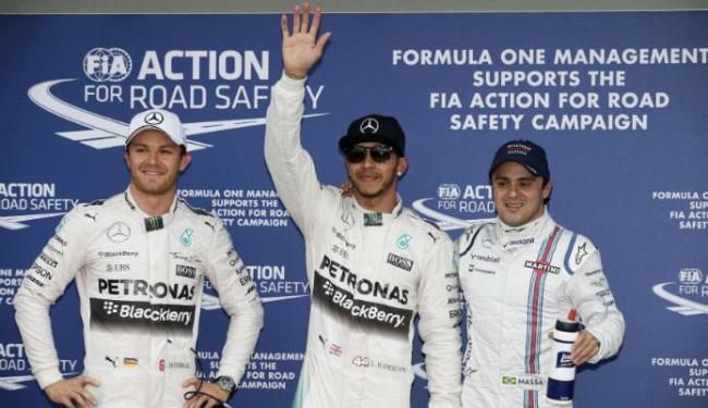 Lewis Hamilton largará na frente, seguido por Nico Rosberg e o brasileiro Felipe Massa em terceiro - Foto: Reprodução Reuters