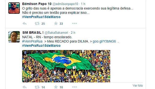 As hashtags #VemPraRua15deMarco e #ForaDilma estão entre as mais usadas pelos internautas - Foto: Reprodução   Twitter