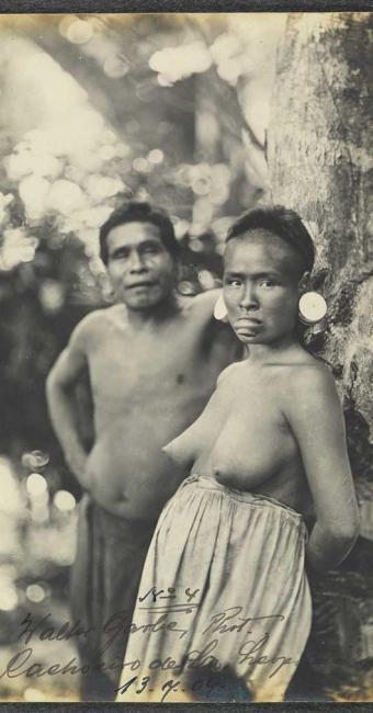 Índios botocudos por Walter Garb, em Santa Leopoldina (ES), no ano de 1909 - Foto: Acervo Biblioteca Nacional   Divulgação
