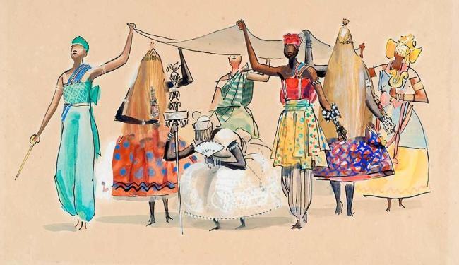 Mostra traz desenhos do artista sobre o descobrimento do Brasil e tradições religiosas africanas - Foto: Reprodução