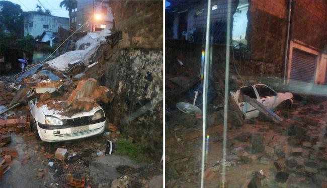 Carros ficaram completamente destruídos após a queda do muro - Foto: Luís Rocha | Cidadão Repórter