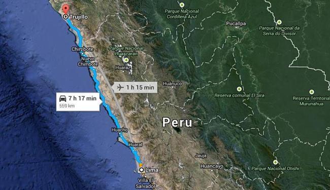 Distância entre Trujillo e Lima, capital do Peru - Foto: Reprodução | Google Maps