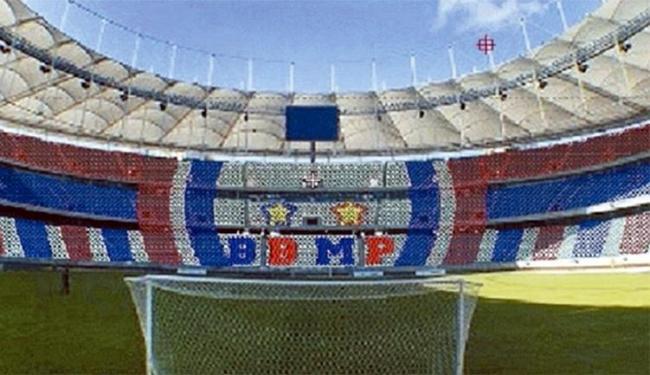 Torcedores vão formar um mosaico com as iniciais da frase 'Bora Bahêa Minha P...' - Foto: Reprodução l Twitter