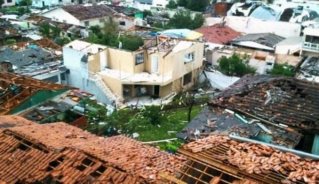 Tornado destruiu 2.600 casas em Xanxerê - Foto: Divulgação   Corpo de Bombeiros de SC