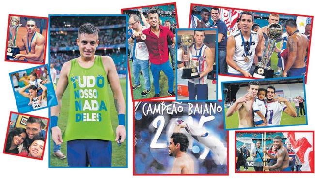 Jogadores comemoram título com badalação nas redes sociais e ao lado da família - Foto: Felipe Oliveira | EC Bahia | Divulgação | Reprodução Instagram