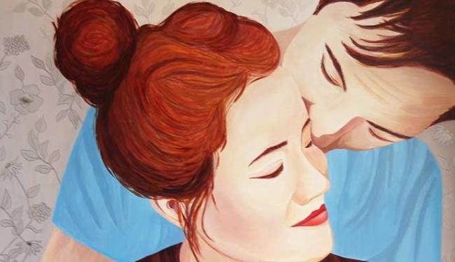 Uma das telas que compõem a exposição O Amor e o Feminino - Foto: Tina Guedes | Divulgação
