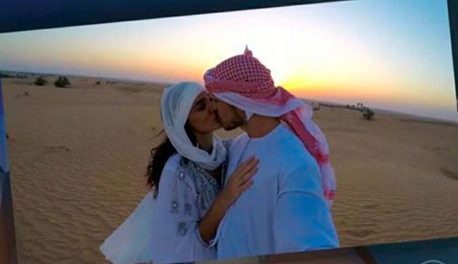 Casal se casou no meio do deserto, em Abu Dhabi - Foto: Reprodução