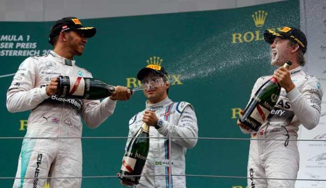 Foi o 40.º pódio de Massa nestes 13 anos de carreira na Fórmula 1 - Foto: Agência AP