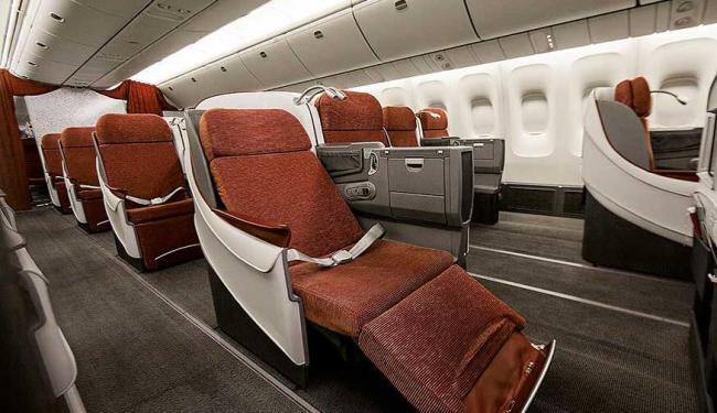A nova classe executiva Premium Business oferece assentos full flat que reclinam até 180 graus - Foto: TAM | Divulgação