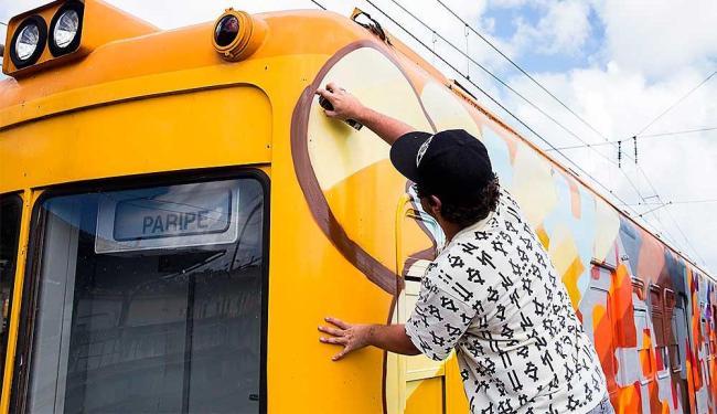 Coletivo de artistas liderados pelos paulistanos Osgemeos e Ise transformaram os trens de Salvador - Foto: Daniele Rodrigues | Sedur | Divulgação