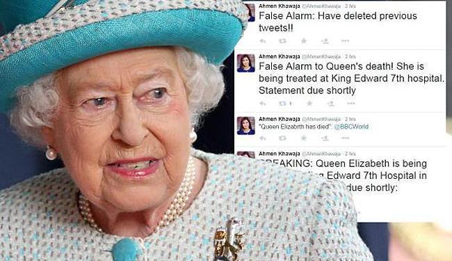A jornalista postou na rede social que a rainha teria sido levada às pressas para um hospital - Foto: Reprodução