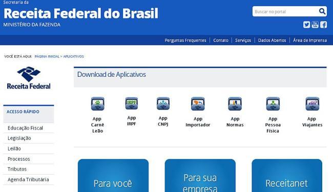 Receita disponibiliza página indicando os aplicativos - Foto: Reprodução   receita.fazenda.gov.br