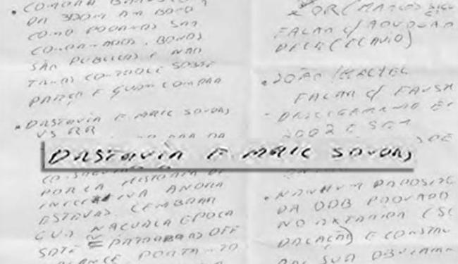 O papel, segundo a PF, continha a expressão 'destruir e-mail sondas' - Foto: Reprodução