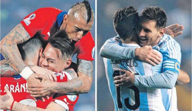 Em casa, com estádio lotado, o Chile tentará façanha inédita contra a forte Argentina - Foto: Ivan Alvarado e Mariana Bazo | Ag. Reuters
