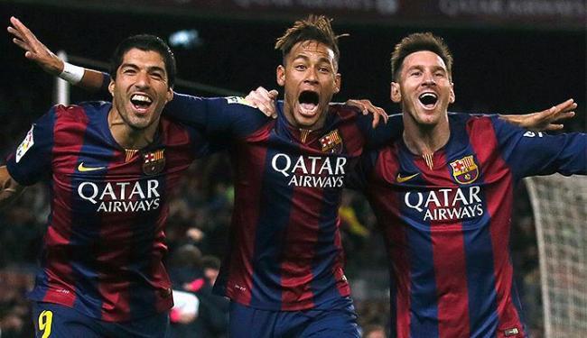 Trio Neymar (C), Messi (D) e Suarez na vitória do Barça no Campeonato Espanhol - Foto: Albert Gea l Reuters