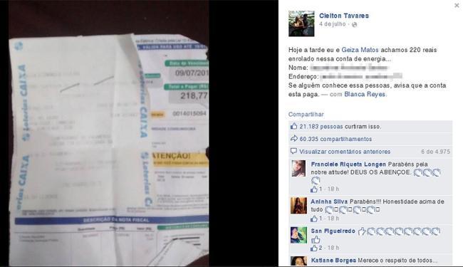 Após pagamento de conta, casal tentou localizar dona do dinheiro perdido - Foto: Reprodução | Facebook