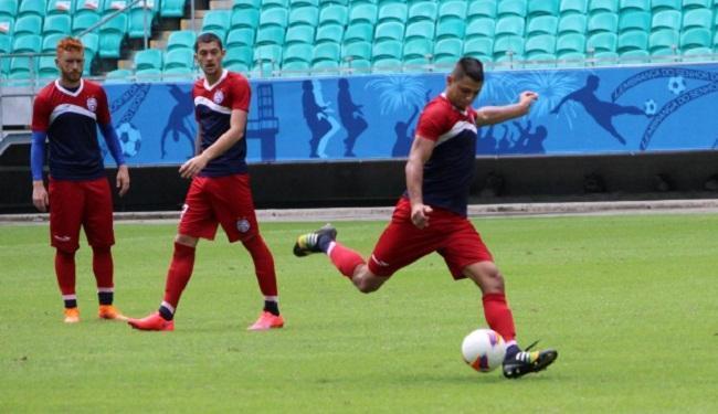 Jogadores do Bahia treinaram cobrança de falta na manhã desta sexta-feira, 3 - Foto: Divulgação | E.C. Bahia