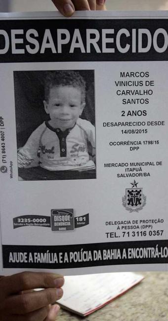 Família divulgou cartaz para achar Marcos Vinícius - Foto: Fernando Amorim | Ag. A TARDE