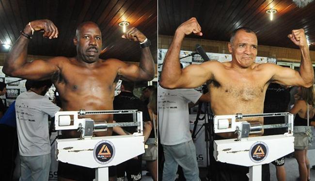 Baiano, aos 49 anos, em pesagem no Recife; Todo Duro durante o evento: ele não revela idade - Foto: Jedson Nobre l Folha de Pernambuco