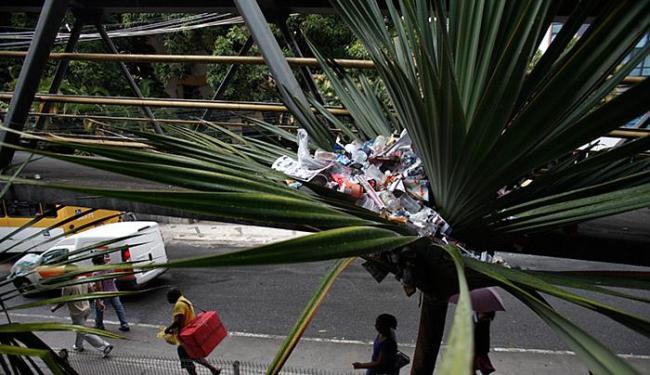 Planta é usada como lixeira na avenida Tancredo Neves - Foto: Raul Spinassé l Ag. A TARDE