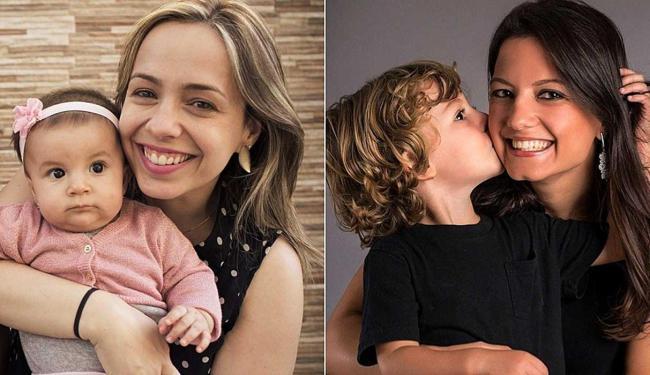 Amanda Rocha com a filha Manoela e Lúcia Stradiotti com o filho Caio - Foto: Divulgação