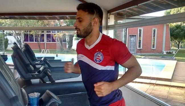 O jogador apresentou incômodo no músculo posterior da coxa e fez trabalho na sala de musculação - Foto: Felipe Oliveira | E.C.Bahia | Divulgação