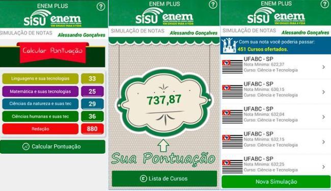 Aplicativo simula a pontuação e as universidades em todo o Brasil que o estudante passaria - Foto: Reprodução