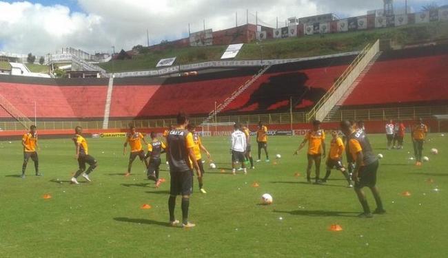Vagner Mancini fez treino fechado no Barradão e esboçou a equipe que enfrenta o Botafogo - Foto: Reprodução | Twitter | E.C. Vitória