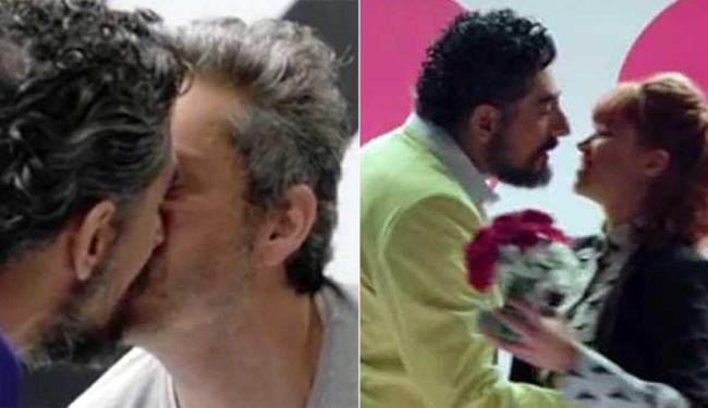 Ator bejiou Alexandre Nero e pediu a ex, Bruna Linzmeyer, em casamento - Foto: Reprodução
