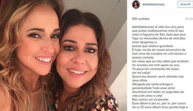Daniela e Malu completaram aniversário de casamento nesta segunda - Foto: Reprodução   Instagram