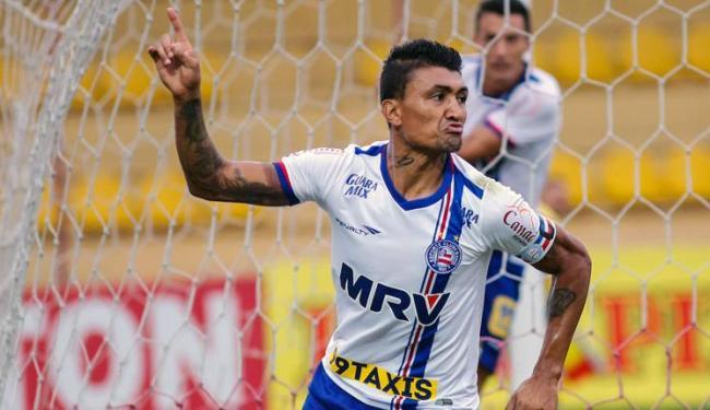 Kieza comemora gol que deu triunfo ao Bahia contra o Oeste - Foto: ALE VIANNA/ELEVEN/ESTADÃO CONTEÚDO