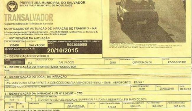 Monza foi multado e Transalvador reconheceu que radar estava com defeito - Foto: Reprodução