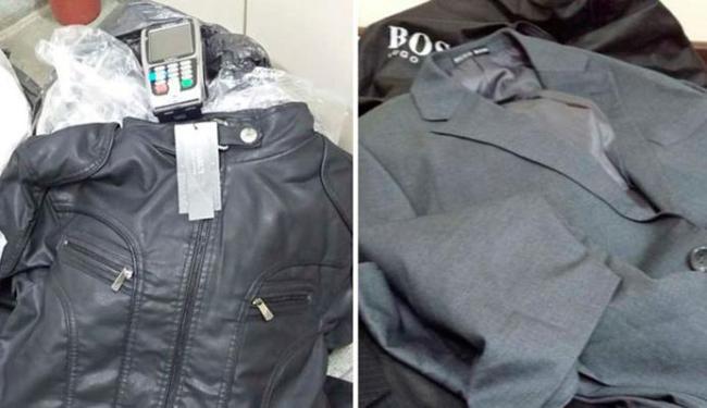 Roupas de grife e máquinas de cartão foram encontrados com a dupla - Foto: Divulgação | Polícia Civil