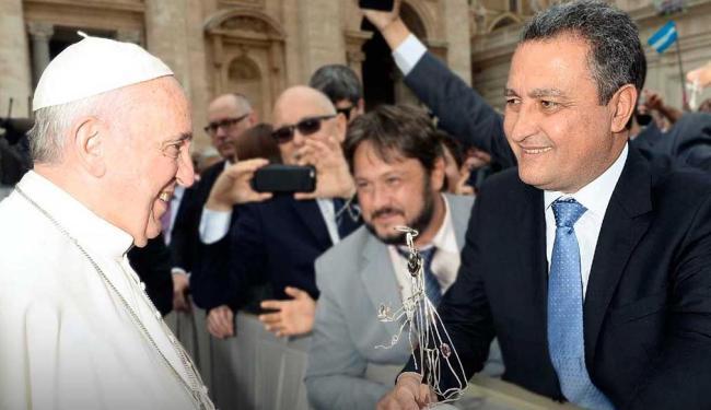 Rui Costa no encontro com o Papa Francisco: