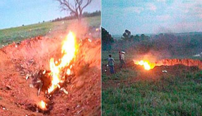 Avião caiu e não houve sobreviventes - Foto: Corpo de Bombeiros - GO