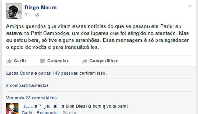 Brasileiro tranquilizou os amigos e familiares com uma postagem em rede social - Foto: Reprodução   Facebook