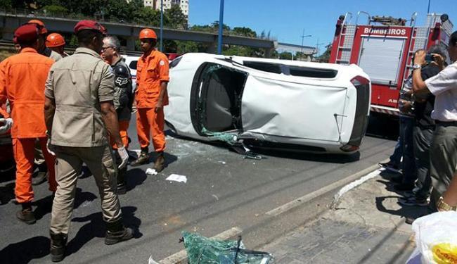 A única vítima teve apenas ferimentos leves - Foto: Lucas Bernardo | Trânsito Salvador | Via WhatsApp