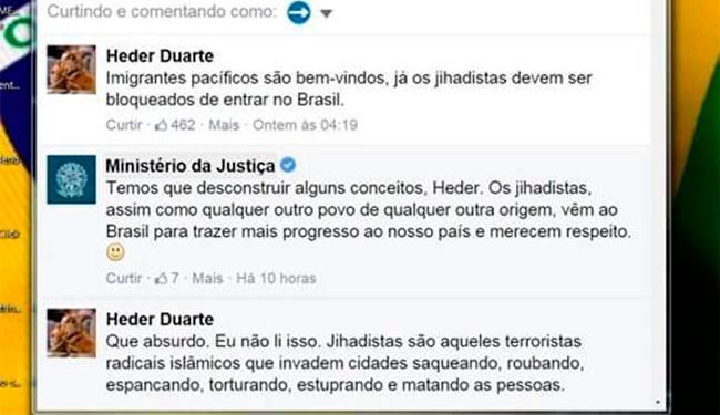 Comentário do Ministério da Justiça causou polêmica no Facebook - Foto: Reprodução | Facebook