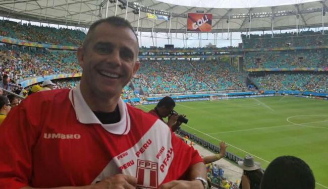 O baiano Julinho, ex-atacante do Peru, na Fonte Nova, na Copa de 2014 - Foto: Arquivo pessoal
