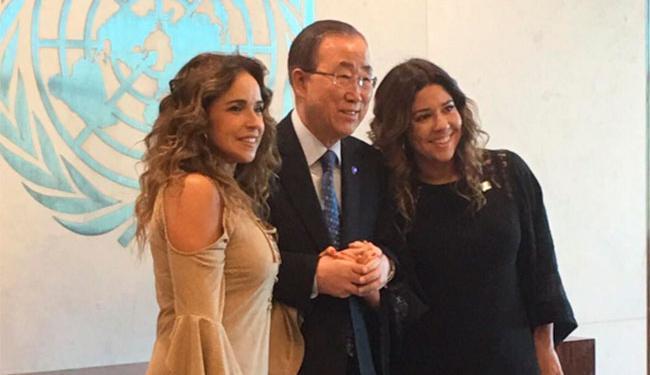 Daniela e Malu posaram com o secretário geral da ONU, Ban Ki-moon - Foto: Reprodução | Instagram