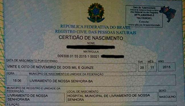 4ª certidão de nascimento emitida com número de CPF da Bahia - Foto: Reprodução   Cartório de Livramento de Nossa Senhora