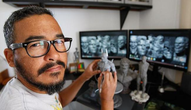 Salvador em seu ateliê: unindo real e virtual - Foto: Fernando Amorim | Ag. A TARDE