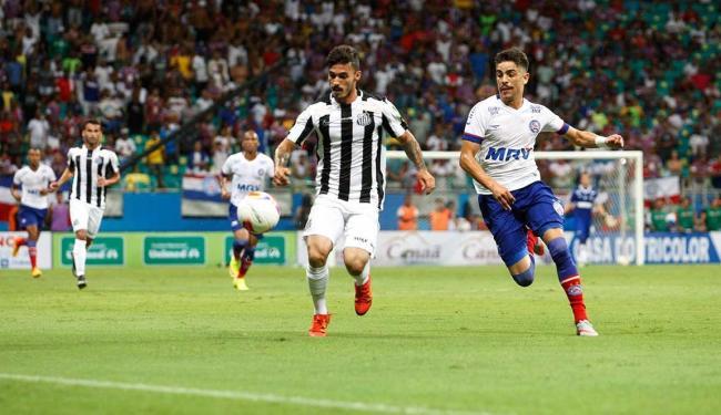 Bahia consegue a virada mas sede empate no final para o Santos - Foto: Adilton Venegeroles | Ag. A TARDE
