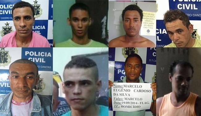 Gicarlos, Anderson, José, Rubismário, Claudiomar, José Rafael, Marcelo e Valmir estão foragidos - Foto: Reprodução