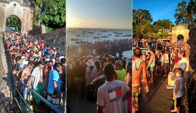 Centenas de pessoas formam filas aguardando a saída das embarcações para Salvador - Foto: Facebook | Reprodução