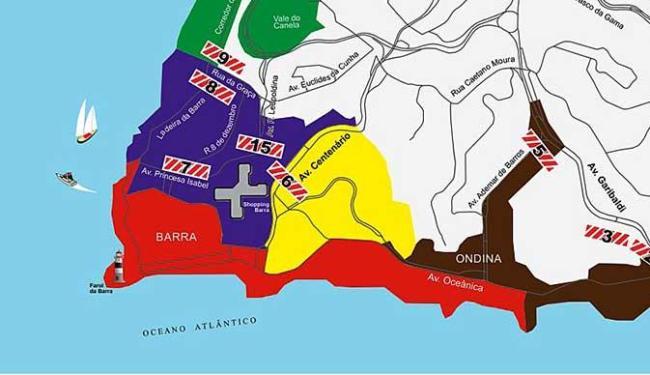 Adesivos separam a cidade em regiões - Foto: Divulgação | Transalvador