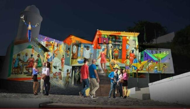 Perspectiva de projeção na fachada do Forte São Diogo, na Barra - Foto: Divulgação