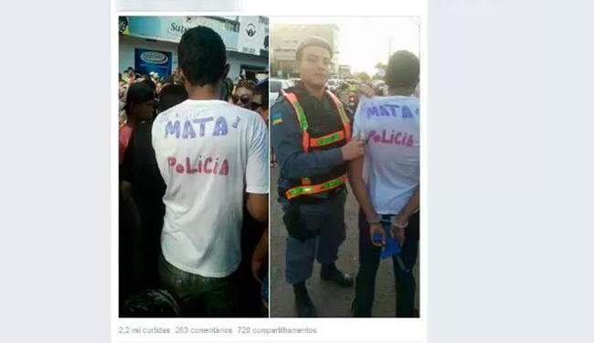 PM disse que camiseta incitava violência - Foto: Reprodução | Facebook